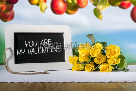 slate blackboard valentine and roses