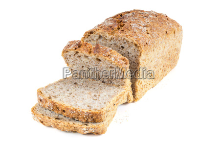 cut wholemeal bread on white background