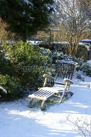 snowy garden lawn