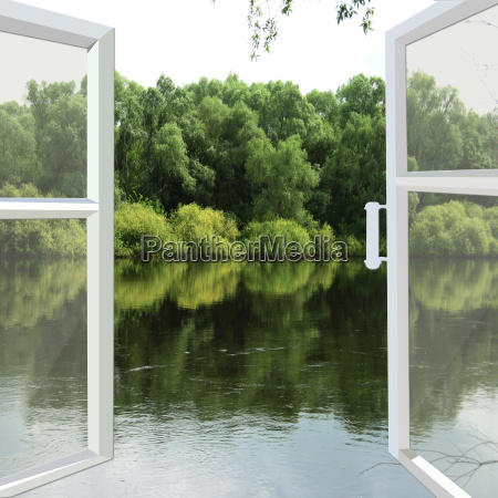 opened window to the spring river