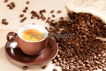 a cup of coffee and roasted