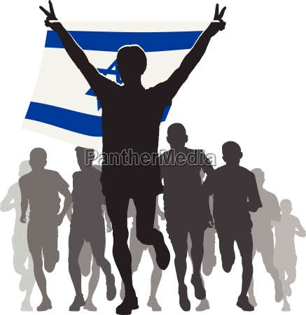 athlete with the israel flag at
