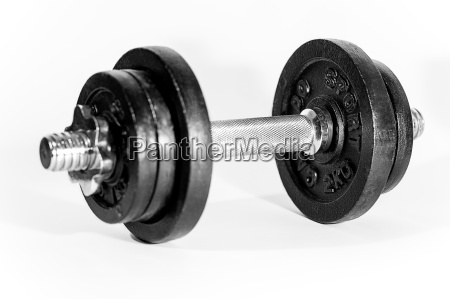 barbell with weights on white background