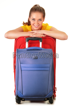 young woman with travel suitcases tourist