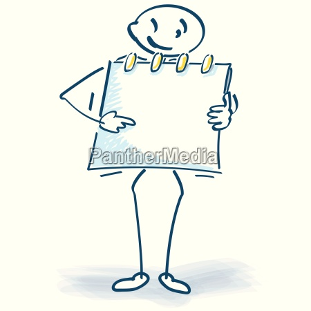 stick figure with note block