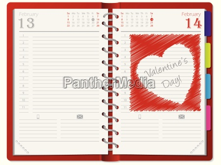 agenda with scribbled heart
