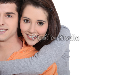 young couple in a loving embrace