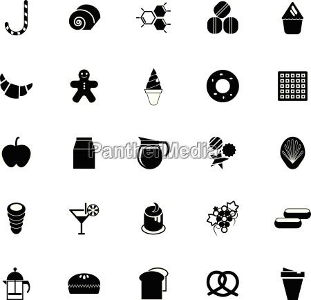 sweet food icons on white background