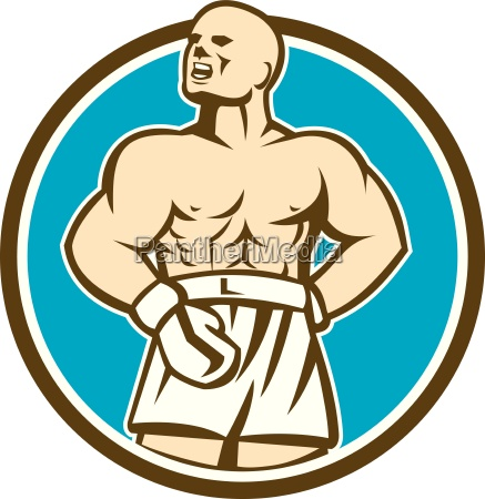 boxer champion shouting up circle retro