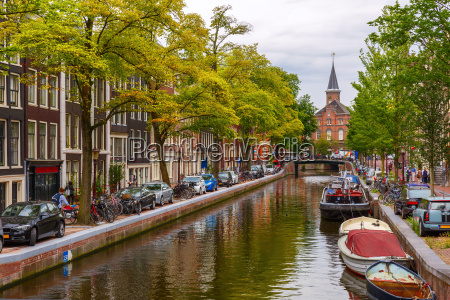 city view of amsterdam canals and