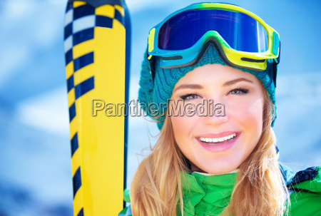 happy, skier, girl, portrait - 13395676