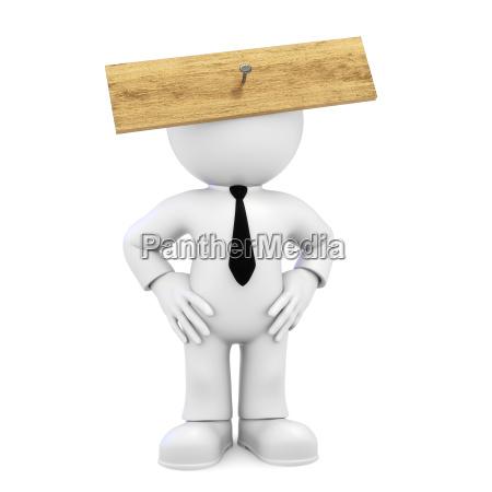 board in front of head