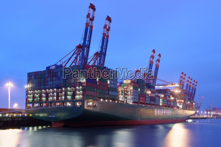 container giant in the hamburg harbor