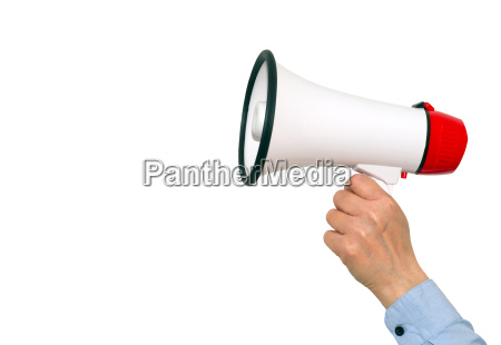 megaphone, with, hand, on, white, background - 13397908