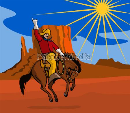 rodeo, cowboy, riding, horse - 13399572