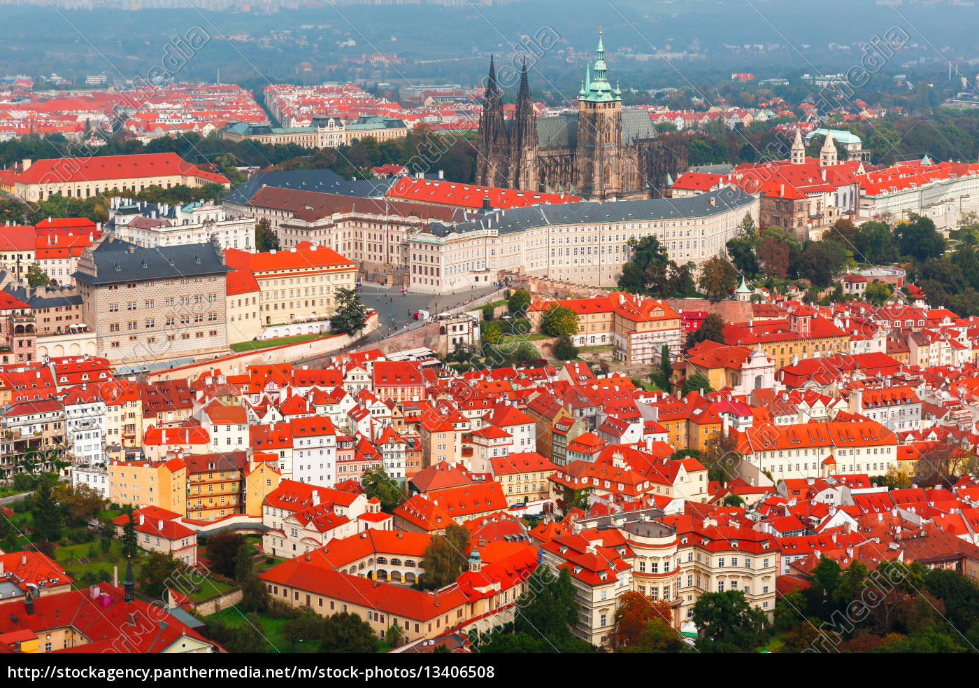aerial, view, over, prague, castle, in - 13406508