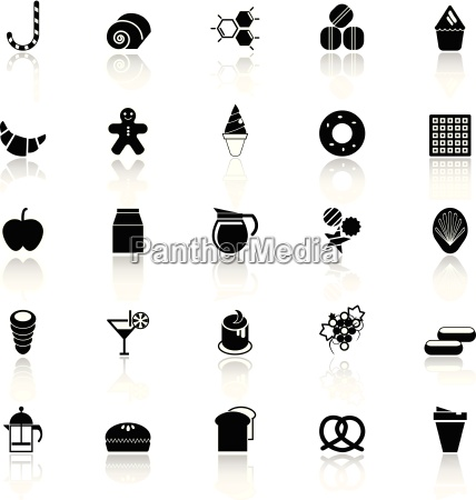 sweet food icons with reflect on