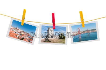 three photos of lisbon on a