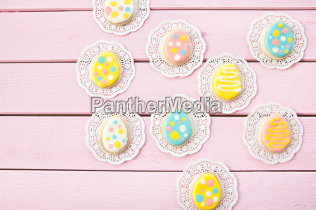 colorful cookies as easter eggs