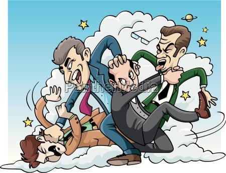 four men brawl