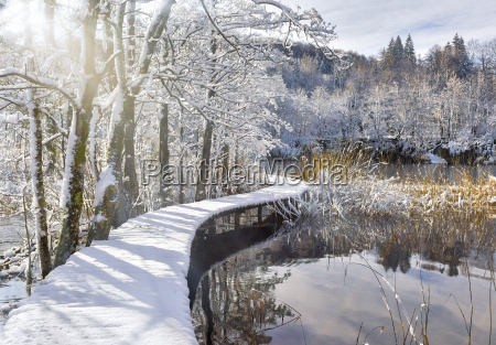 snowy, catwalk, over, the, pond - 13413922