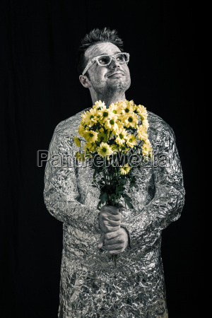 happy spaceman with flowers