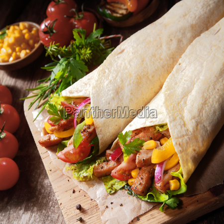 healthy mexican tortillas with salad and