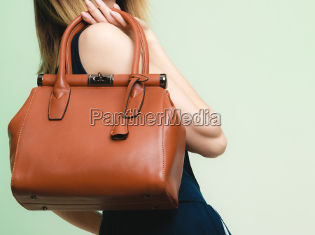 elegant outfit brown leather bag in