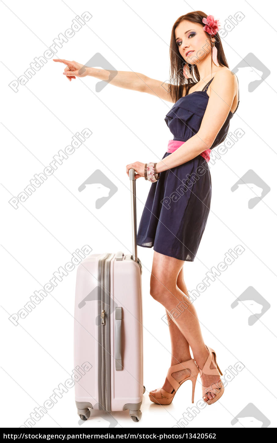 travel, and, vacation., woman, with, suitcase - 13420562