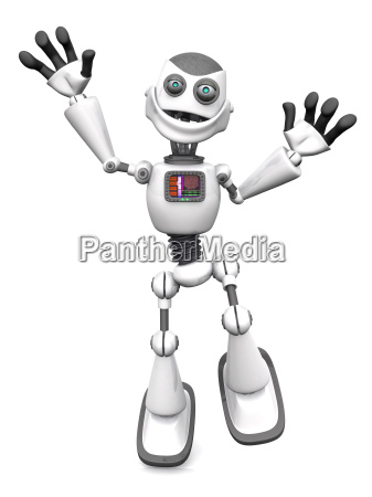 white smiling cartoon robot jumping for