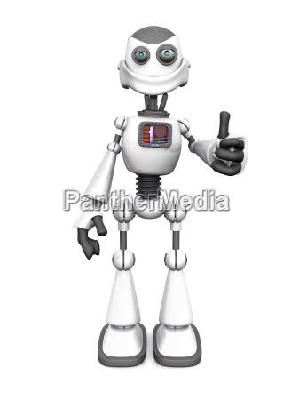 white smiling cartoon robot doing a