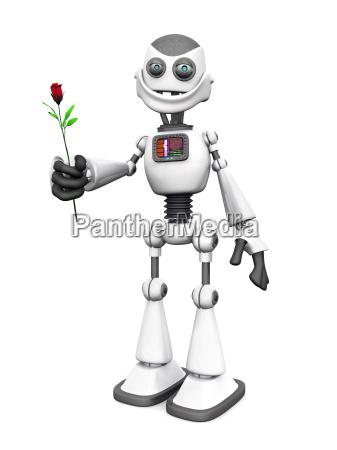 white smiling cartoon robot holding rose