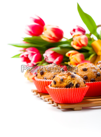 homemade muffin with spring tulips