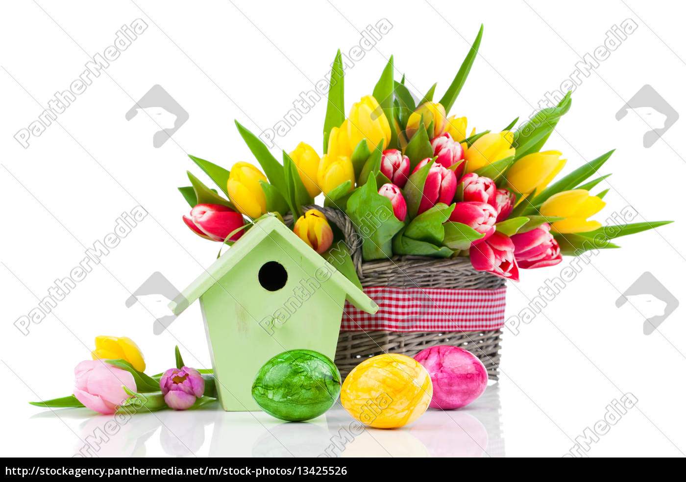 easter, motives, with, eggs, tulips, and, bird - 13425526