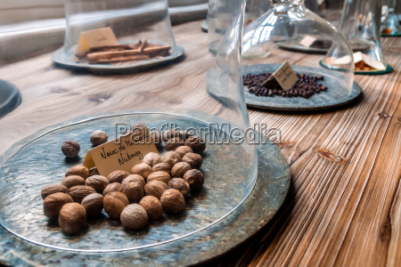 spices under glass bells