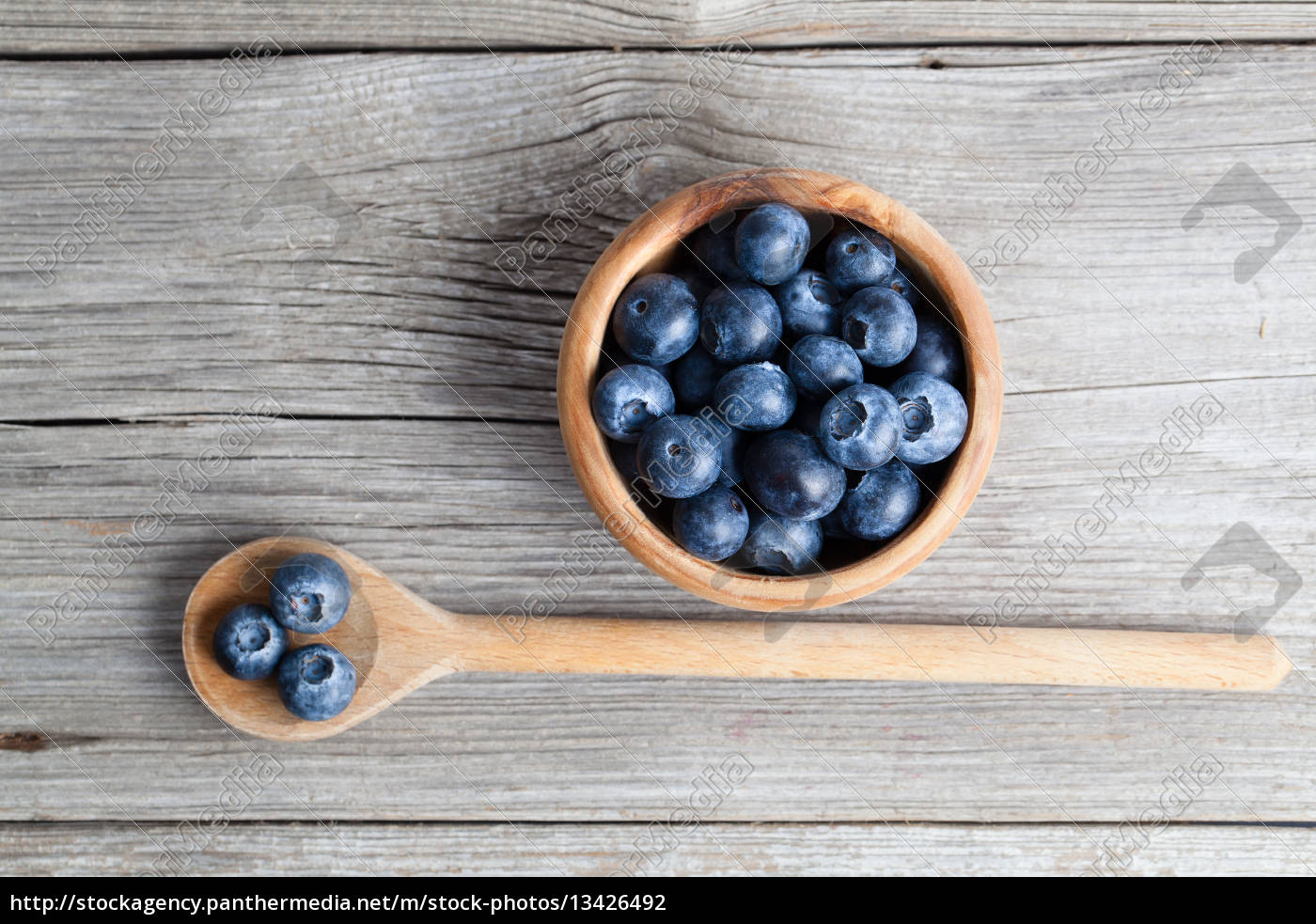 blueberries, on, a, wooden, bowl, spoon., on - 13426492