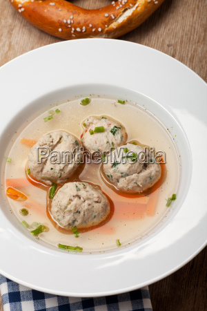bavarian soup with bratnockerl in a