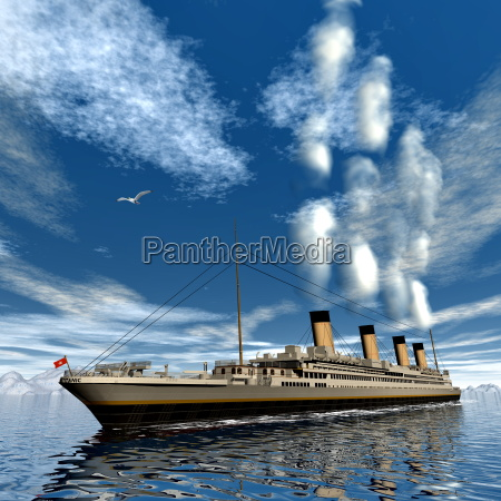 titanic ship 3d render