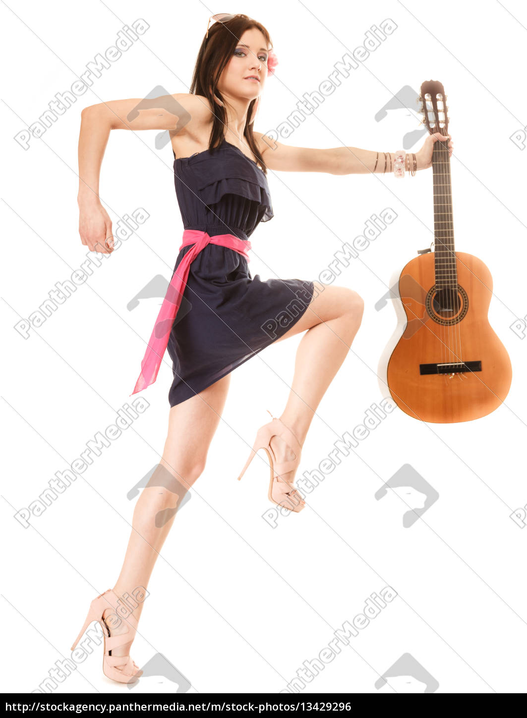 music, lover, summer, girl, with, guitar, isolated - 13429296