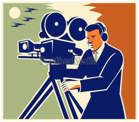 cameraman film crew vintage video movie