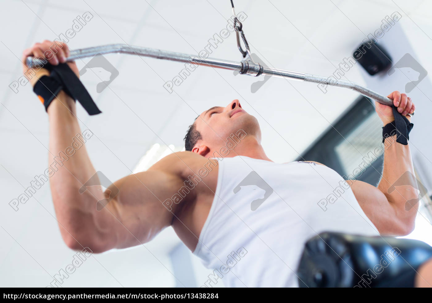 man, with, dumbbells, doing, exercise, at - 13438284