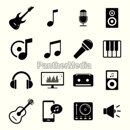 collection of flat media icons