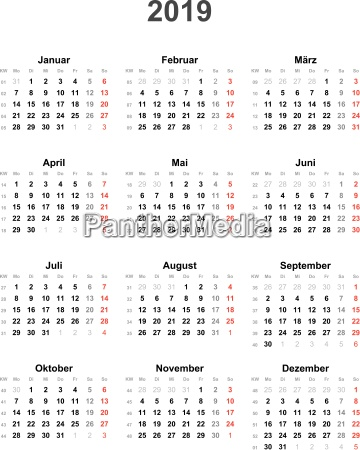 calendar 2019 universal excluding holidays