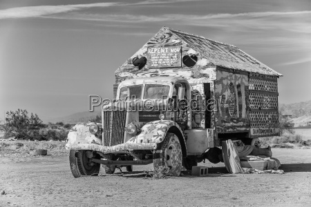 bible truck outsider art installation in