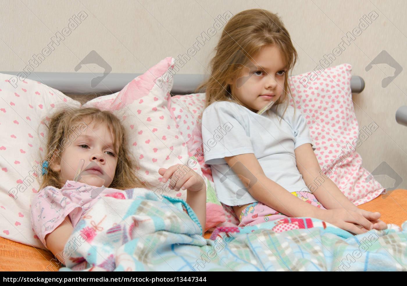 two, girls, sick, meryat, temperature - 13447344