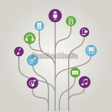 abstract icon tree illustration music