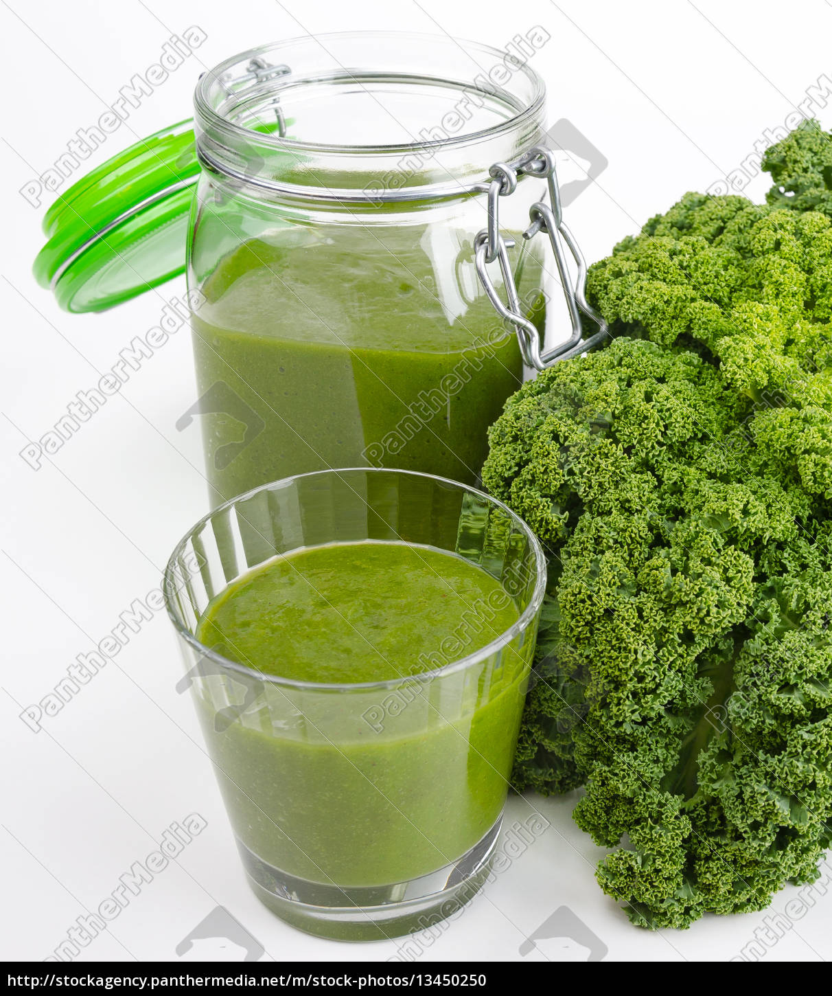 green, smoothie, glass, and, jar, with - 13450250