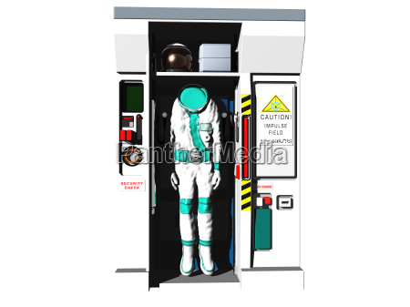exempted spacesuit in the airlock