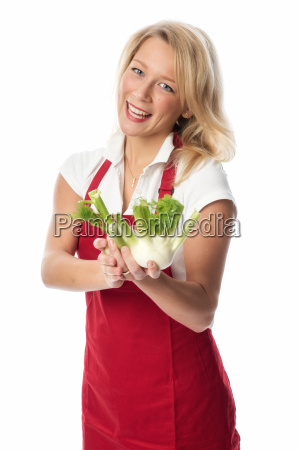 blonde, housewife, presented, fennel, bulbs - 13453568