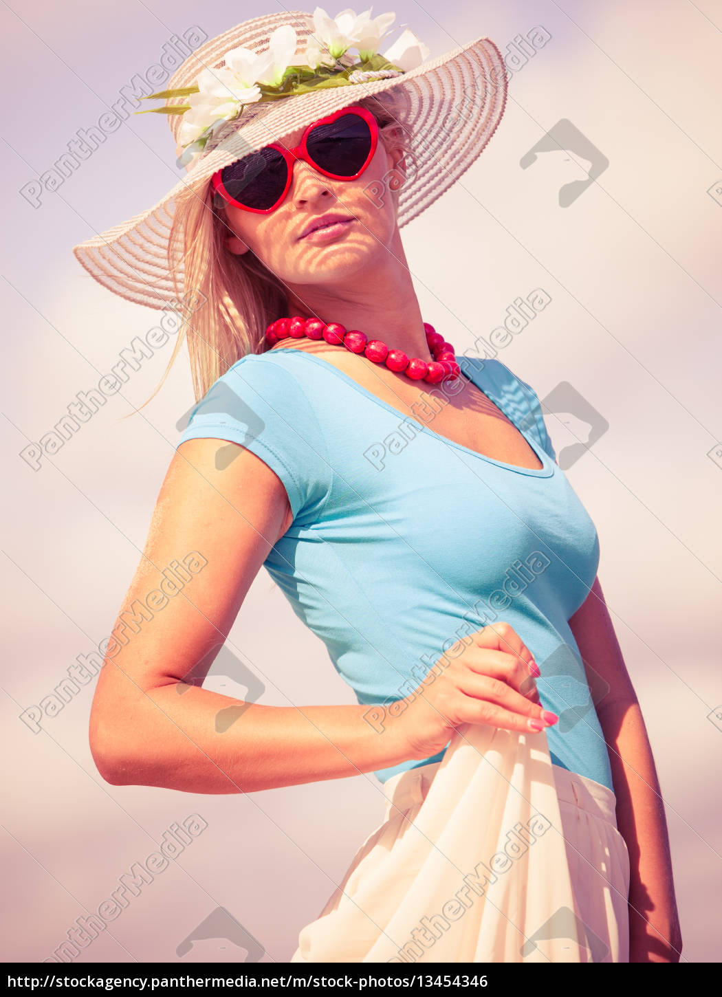 Royalty Free Image 13454346 Beautiful Blonde Girl In Hat On Beach